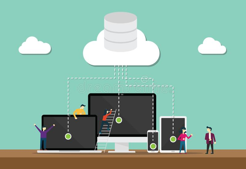 El equipo de la tecnología de ordenadores de la nube se convierte o desarrollador con la nube y la base de datos de los datos stock de ilustración