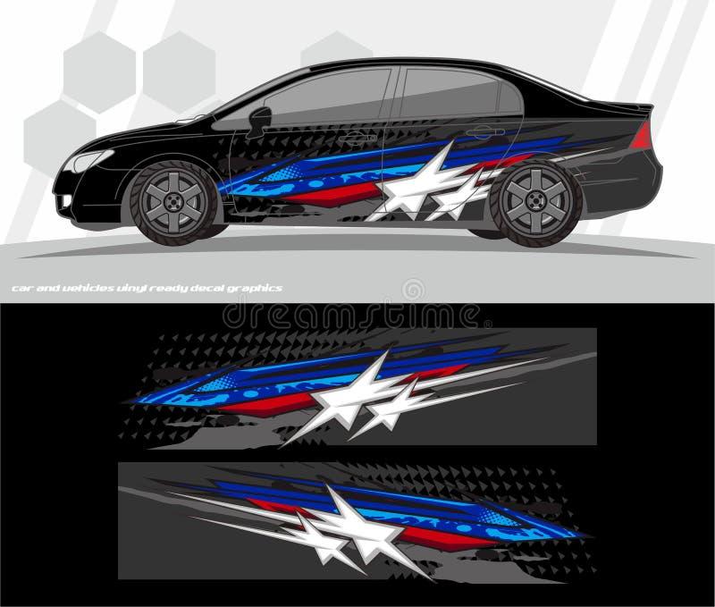 El equipo de los gráficos de la etiqueta del coche y del abrigo de los vehículos diseña aliste para imprimir y para cortar para l ilustración del vector