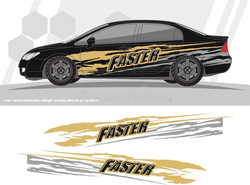 El equipo de los gráficos de la etiqueta de un coche más rápido y de los vehículos diseña aliste para imprimir y para cortar para stock de ilustración