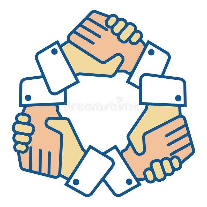 El equipo del apretón de manos da el logotipo en blanco stock de ilustración
