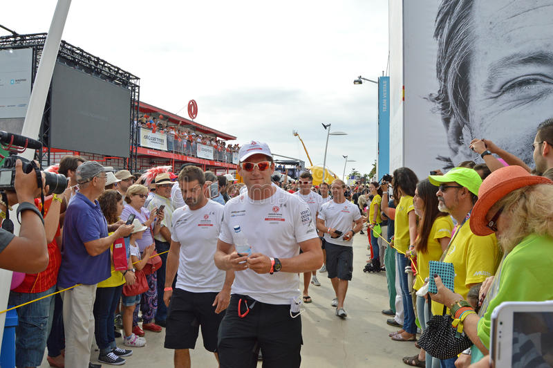 El equipo del equipo de la raza de Dongfeng, raza del océano de Volvo foto de archivo