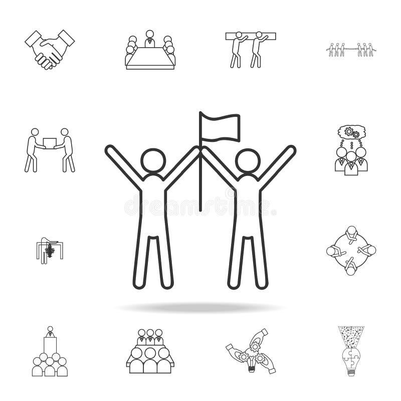 el equipo del ganador, sube un icono de la bandera Sistema detallado de iconos del esquema del trabajo del equipo Icono superior  ilustración del vector