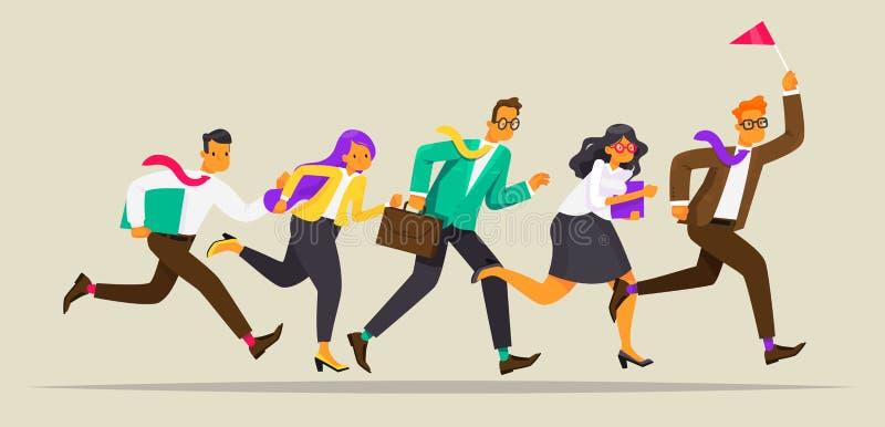 El equipo del negocio corre para el líder con la bandera Manera al éxito Concepto de la dirección Ilustración del vector libre illustration