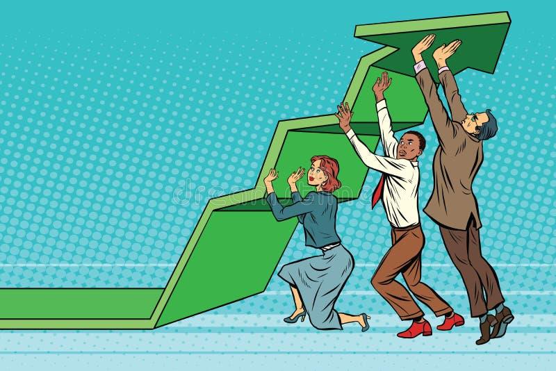 El equipo del negocio levanta para arriba la carta de crecimiento stock de ilustración
