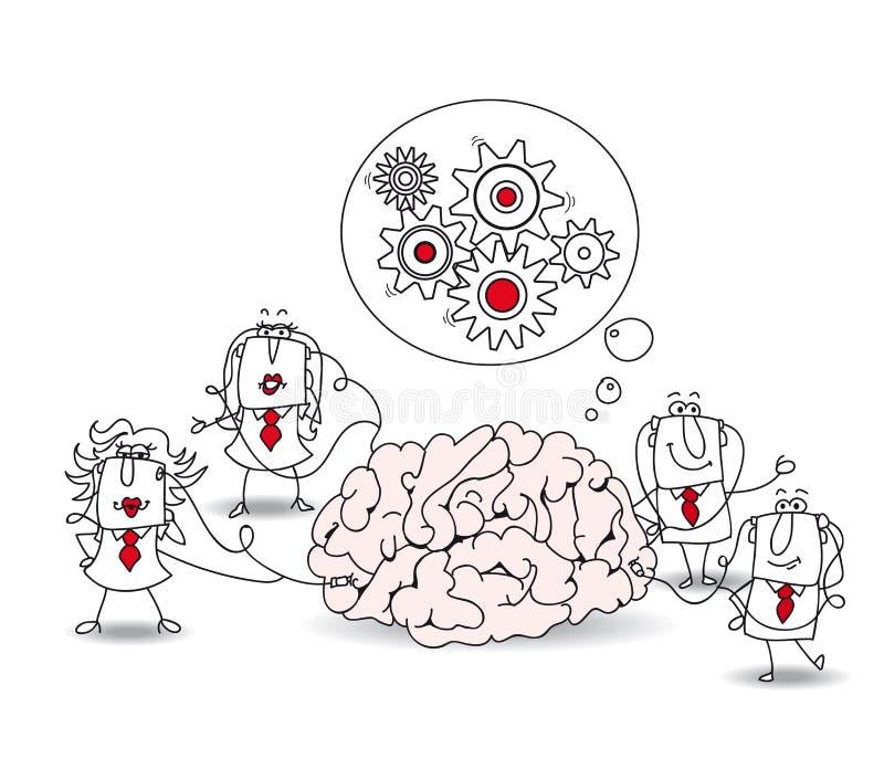 El equipo del negocio y el cerebro stock de ilustración