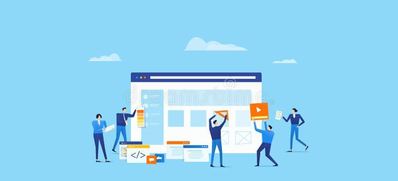 El equipo del programador y de diseño se convierte para la aplicación web con el funcionamiento del equipo del negocio stock de ilustración