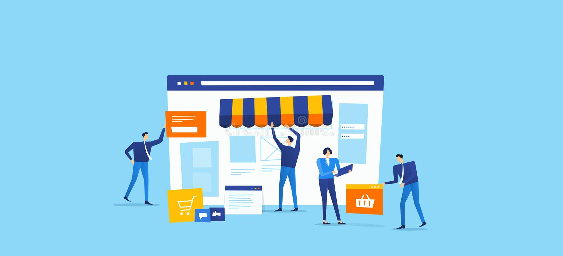El equipo del promotor y del diseñador crea la tienda en línea ilustración del vector
