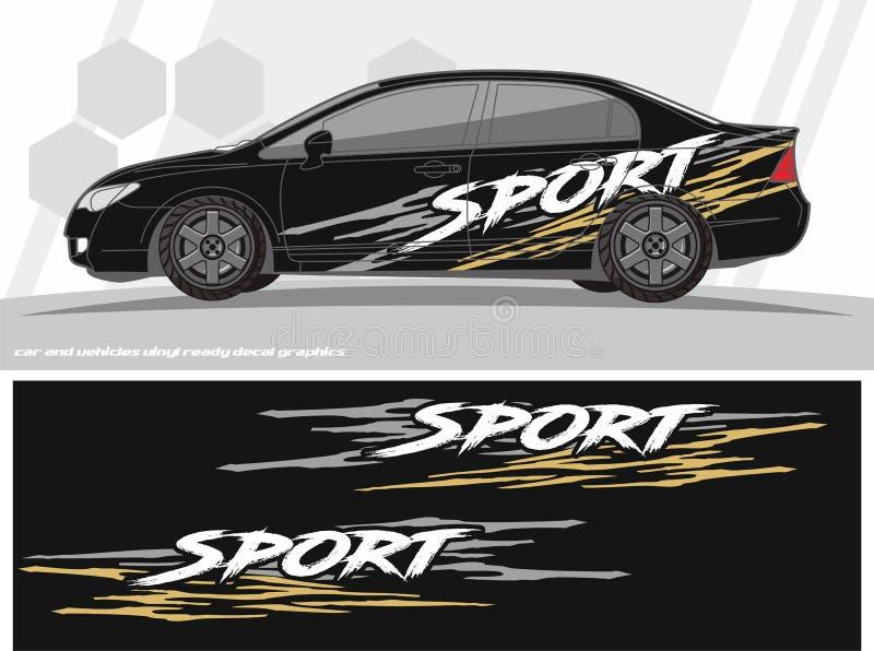 El equipo deportivo de los gráficos de la etiqueta del coche y de los vehículos diseña aliste para imprimir y para cortar para la stock de ilustración