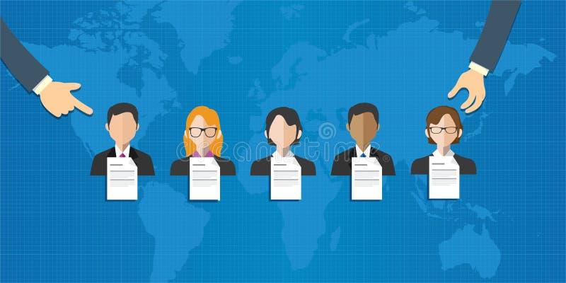 El equipo especial ad hoc seleccionado de gente agrupa el mundo del reclutamiento de la selección del empleado en línea ilustración del vector
