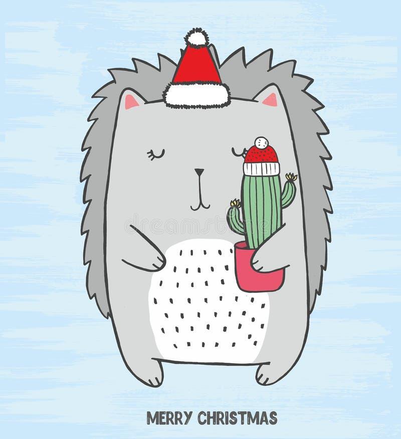 el equipo lindo con el sombrero de la Navidad cortó con el cactus en sus manos Dé la tarjeta exhausta del bosquejo con el erizo g stock de ilustración