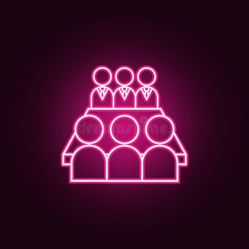 el equipo se sienta en el icono de neón de la tabla Elementos del sistema del trabajo del equipo Icono simple para las p?ginas we stock de ilustración