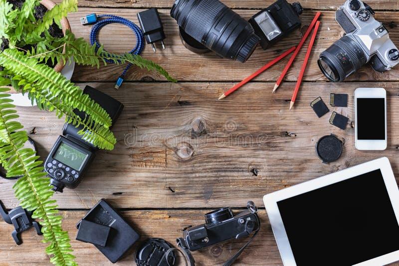 El equipo usado a la fotografía imagenes de archivo