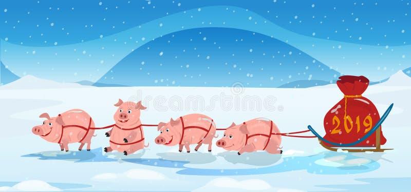El equipo y los chrismas del trineo de los cerdos empaquetan con los números 2018 Fondo del invierno libre illustration