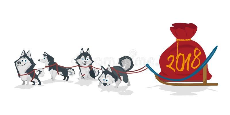El equipo y los chrismas del trineo de los perros empaquetan con los números 2018 Fondo blanco libre illustration