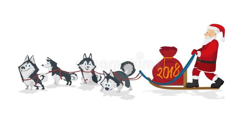 El equipo y santa del trineo de los perros con rojo de los chrismas empaquetan ilustración del vector