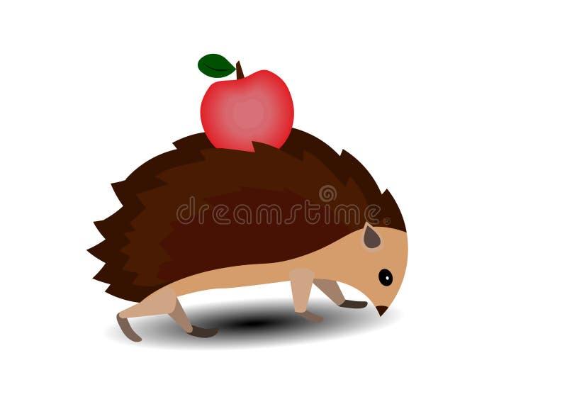 El erizo lleva una manzana en su parte posterior libre illustration