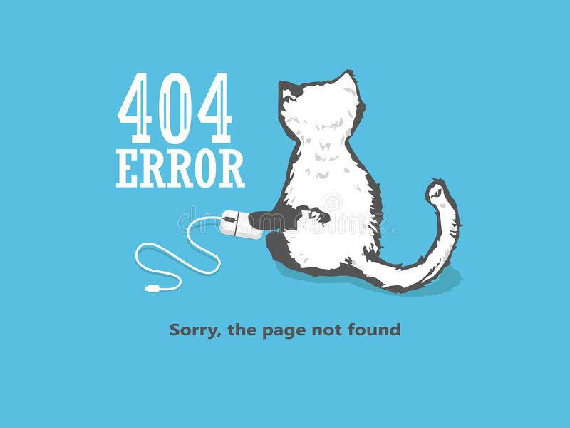 El error no encontrado de 404 páginas, gato sostiene un ratón del ordenador stock de ilustración
