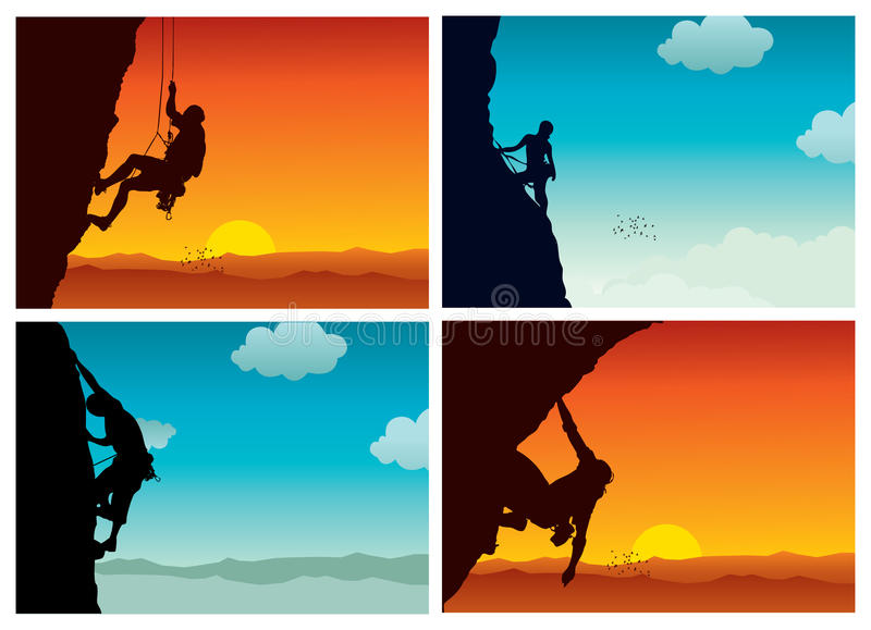 El escalador siluetea la colección stock de ilustración