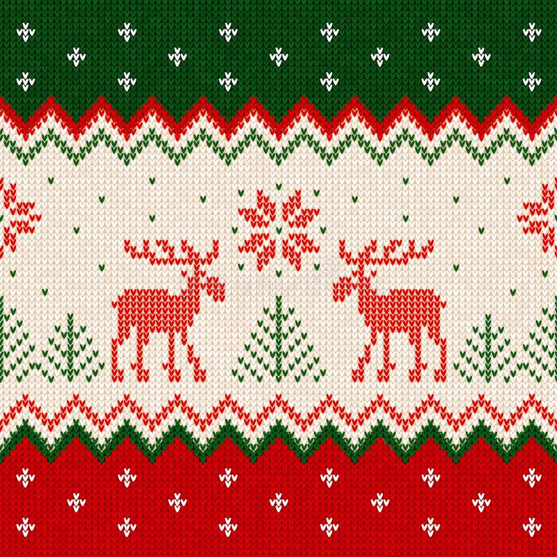 El escandinavo del marco de la tarjeta de felicitación del Año Nuevo de la Feliz Navidad adorna ciervos ilustración del vector