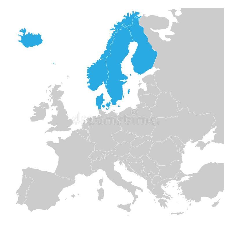 El escandinavo indica el azul de Dinamarca, de Noruega, de Finlandia, de Suecia y de Islandia destacado en el mapa político de Eu stock de ilustración