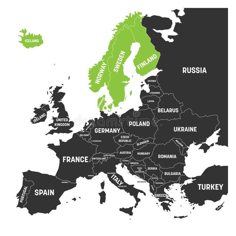 El escandinavo indica el verde de Dinamarca, de Noruega, de Finlandia, de Suecia y de Islandia destacado en el mapa político de E libre illustration