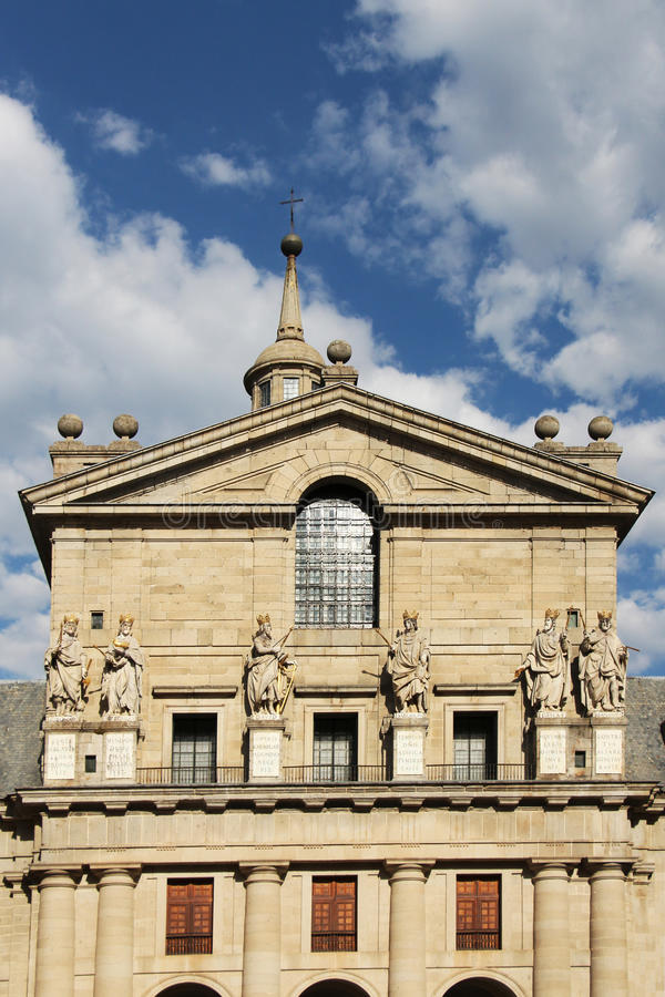 El escorial, madrid, facade of the basilica stock photo