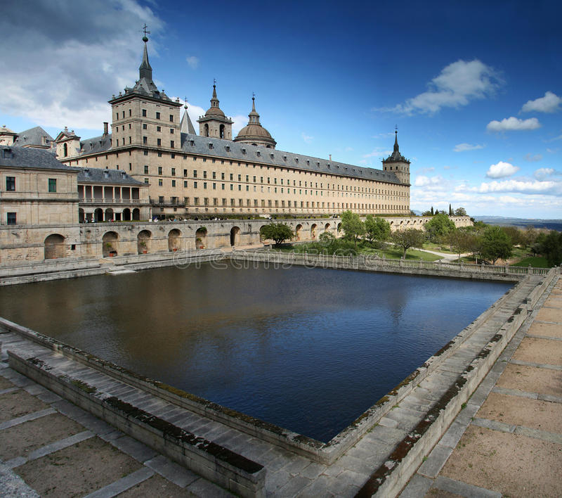 El Escorial Monastery, Madrid, Spain stock photography