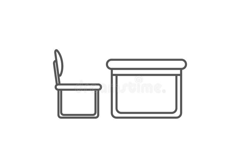El escritorio con la silla aisló el icono en estilo linear stock de ilustración