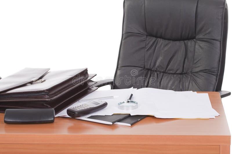 El escritorio con nadie se sentó en él fotos de archivo libres de regalías