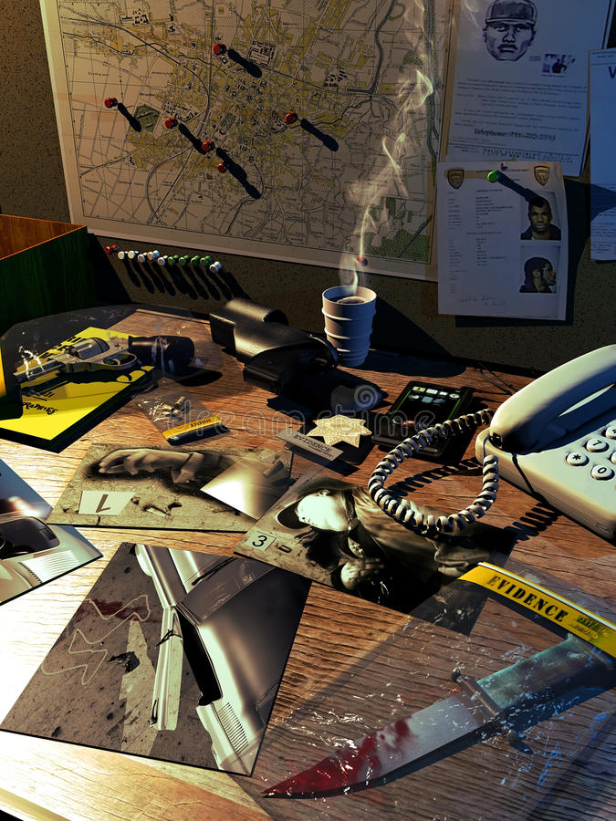 El escritorio del investigador stock de ilustración