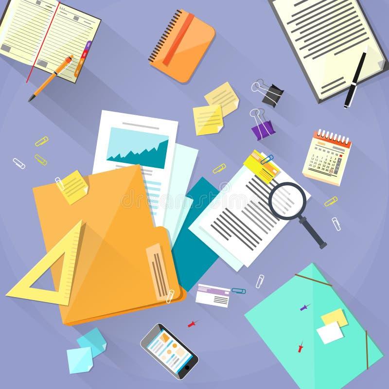 El escritorio del lugar de trabajo documenta la oficina de la carpeta de los papeles ilustración del vector