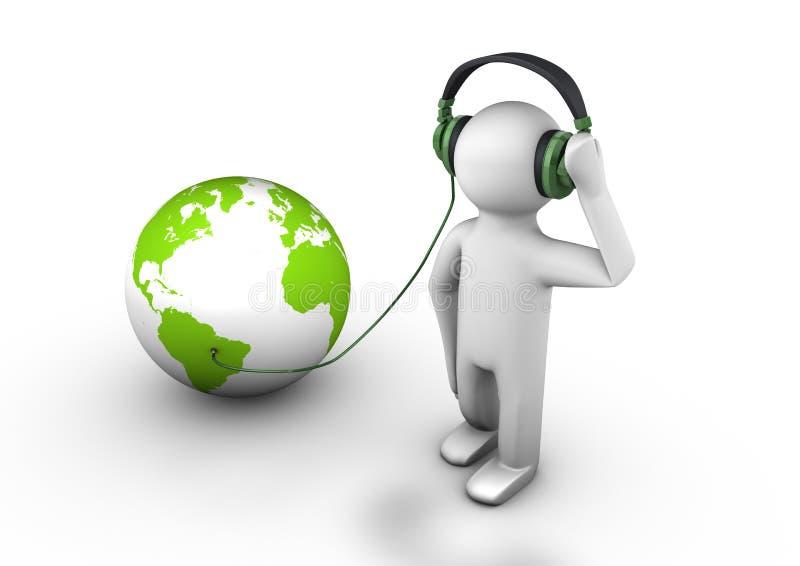El escuchar el mundo stock de ilustración