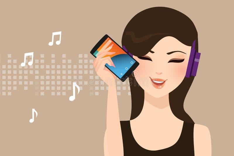El escuchar femenino de la muchacha de la mujer la música que fluye en línea con el alambre determinado de la cabeza del teléfono ilustración del vector