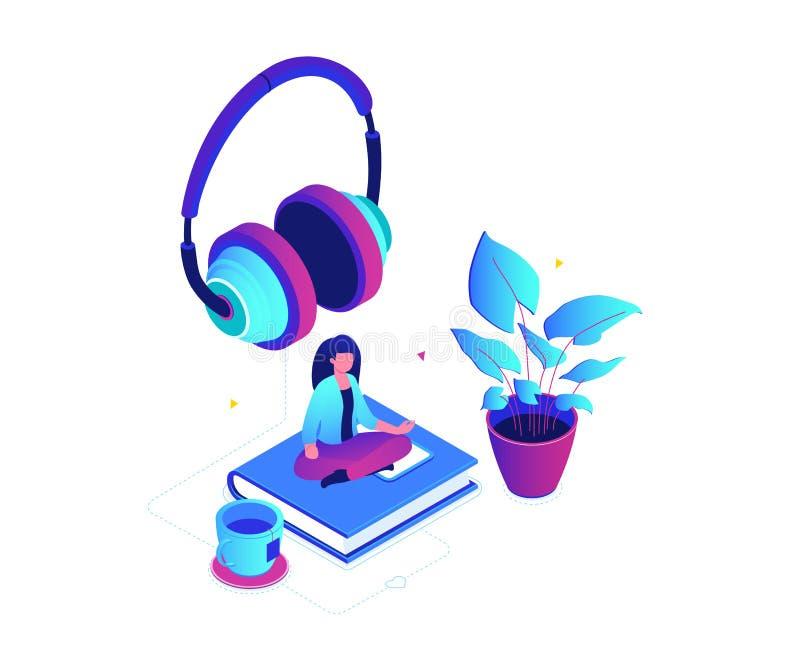 El escuchar la música - ejemplo isométrico colorido moderno del vector stock de ilustración