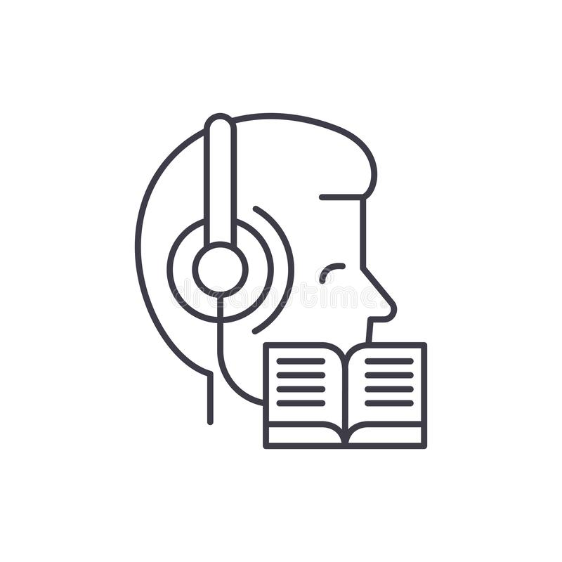 El escuchar la música y lectura de la línea concepto del icono Escuchando la música y la lectura del ejemplo linear del vector, s libre illustration