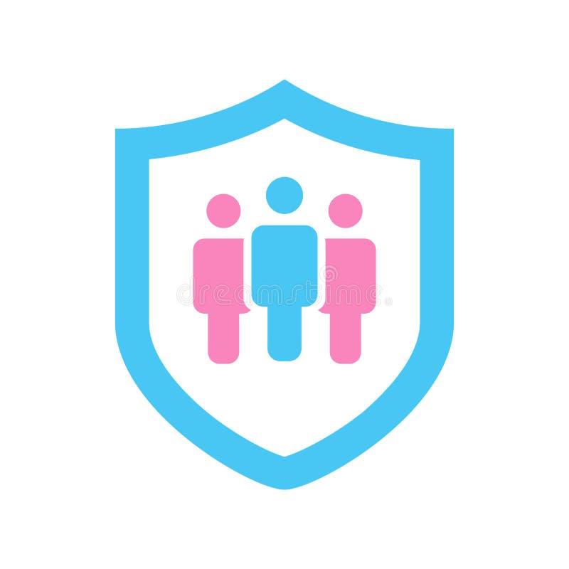 El escudo con el icono de la gente, protege el ser humano o el concepto del seguro, ejemplo del vector aislado en blanco Símbolo  ilustración del vector