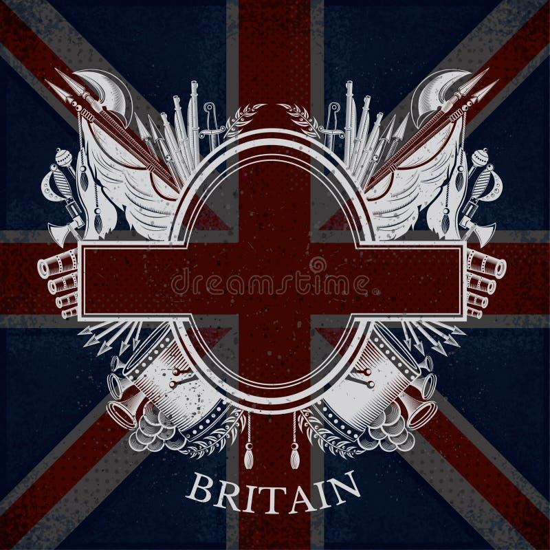 El escudo de armas blanco con las armas ovales del capítulo y del vintage en Gran Bretaña señala el fondo por medio de una bander ilustración del vector