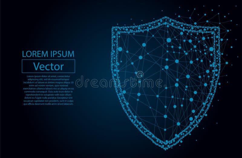 El escudo poligonal de la seguridad compuesto de partículas vector el ejemplo libre illustration