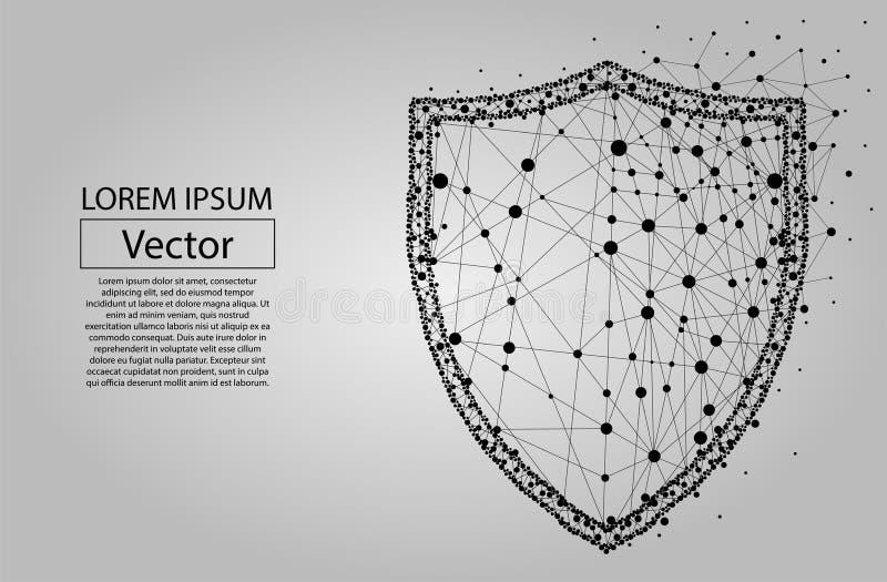 El escudo poligonal de la seguridad compuesto de partículas vector el ejemplo stock de ilustración
