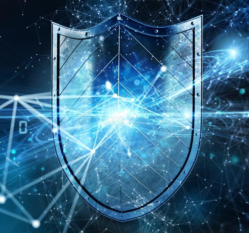 El escudo protege la información personal y el Internet contra ataque de la web Concepto de cortafuego de la seguridad de Interne ilustración del vector