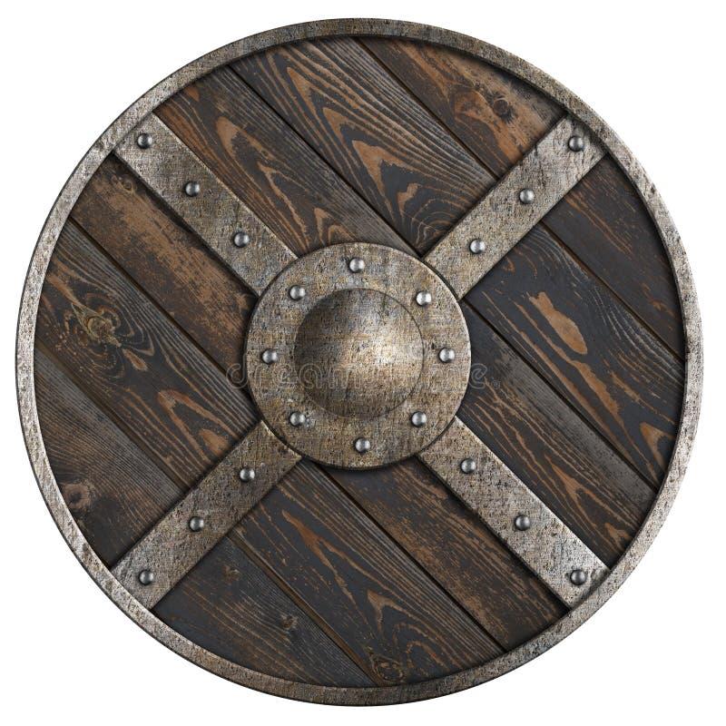 El escudo redondo medieval de madera con el marco metálico y la cruz aisló el ejemplo 3d ilustración del vector