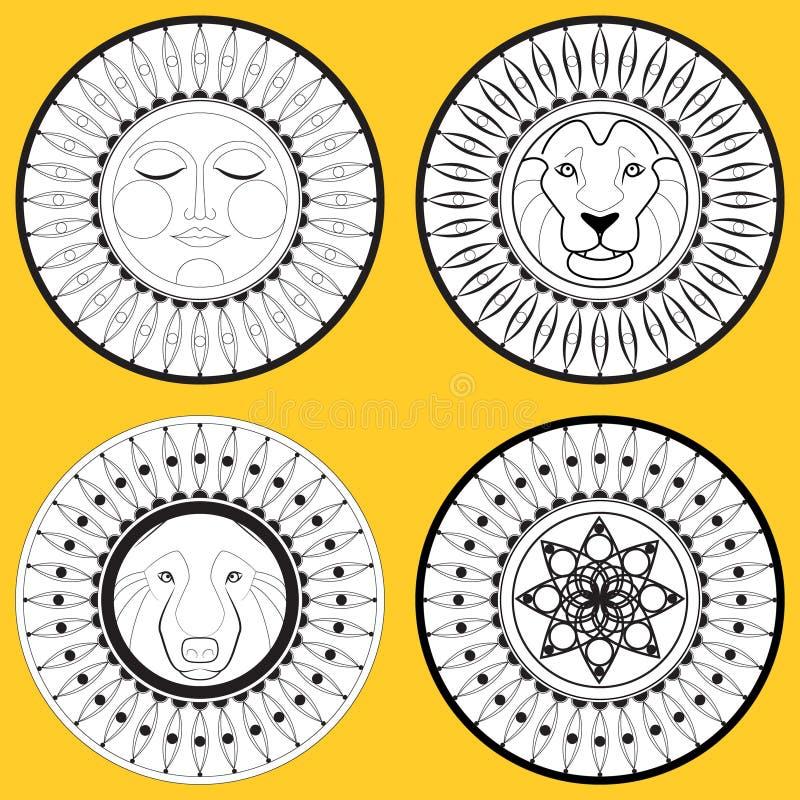 El escudo y el sistema del escudo de armas Sun, cabeza de un león, un lobo libre illustration