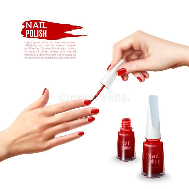 El esmalte de uñas de la manicura da el cartel realista ilustración del vector