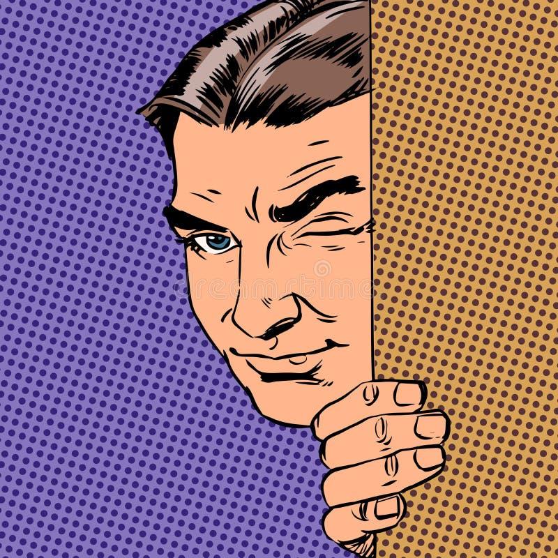 El espía del hombre guarda el mirar a escondidas hacia fuera de detrás la pared libre illustration