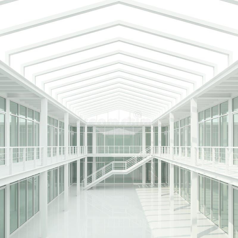 El espacio de oficina blanco moderno 3d rinde ilustración del vector