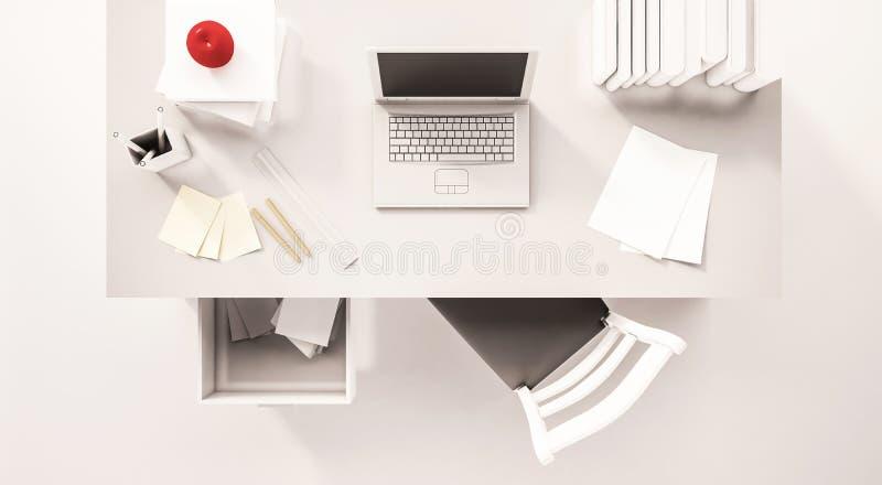 El espacio de trabajo del escritorio, visión superior, con el ordenador portátil del ordenador, papeleo, libros, silla, abrió el  stock de ilustración