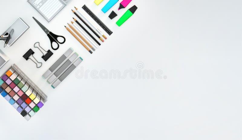 El espacio de trabajo moderno con efectos de escritorio fijó en el fondo blanco del color Visión superior Endecha plana ilustraci libre illustration