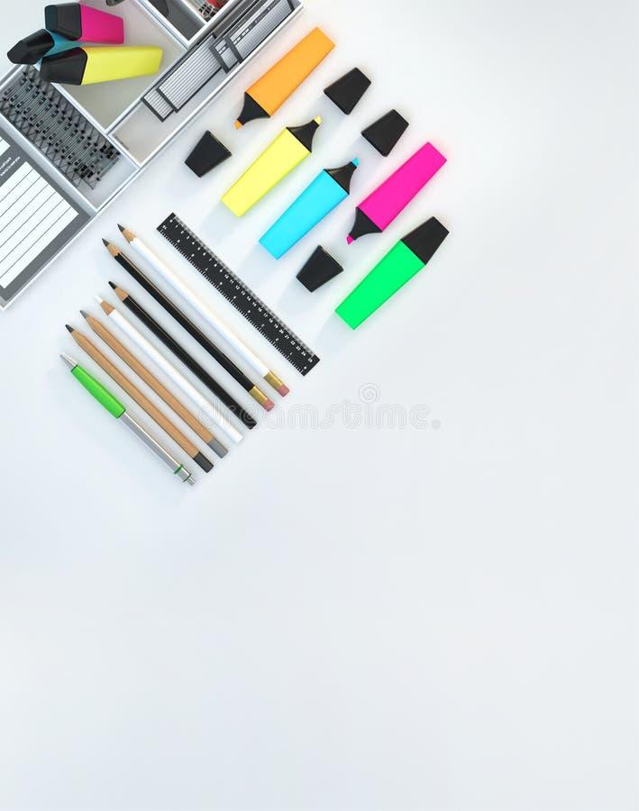 El espacio de trabajo moderno con efectos de escritorio fijó en el fondo blanco del color Visión superior Endecha plana ilustraci stock de ilustración