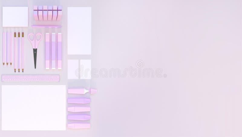 El espacio de trabajo moderno con efectos de escritorio fijó en fondo rosado del color Visión superior Endecha plana ilustración  stock de ilustración