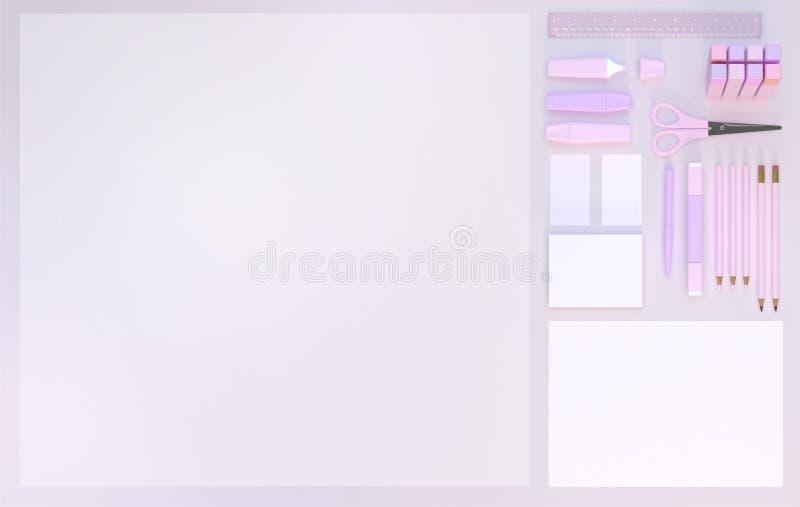 El espacio de trabajo moderno con efectos de escritorio fijó en fondo rosado del color Visión superior Endecha plana ilustración  ilustración del vector